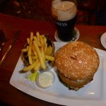What better than an old fashion burger, chips and a pint of Guinness