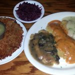schnitzel trio (Jaeger, fried & paprika-rahm) with potato pancake & red cabbage