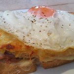 Croque Madam - Grilled cheese and ham sandwich with fried egg