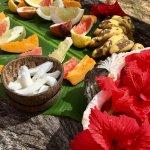 Small taste of the fruit platter - all fresh from the garden
