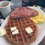 Delicious! Freight Train and Waffle Meat and Eggs.