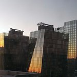 Sunrise reflected in Strip hotels