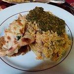 Chicken saag, mushroom rice, keema naan