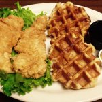 Belgian Waffles made with pearl sugar & hand breaded Fried Chicken Tenders a great meal anytime!