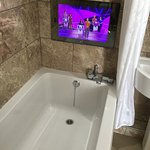 tv at the end of the bath!