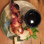 Bacon-wrapped quail egg robata