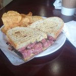 Oh my this pastrami melt with caramelized onions spicy mustard and melted cheddar on rye is deli