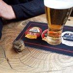 Resident baby robin enjoying the beer !!