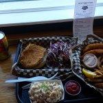 Pork Katsu Sandwich, Hawaiian Mac Salad, Fish & Chips