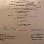 Menu options, Jax Grill & Lounge 10612 99 Ave, Grande Prairie, Alberta