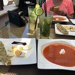 Gazpacho and crab bruschetta