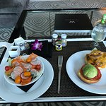 Room service cheeseburger with salad