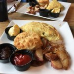 Weekend brunch - omelette, roasted potatoes and fluffy biscuit