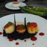 Romescu butter sea scallops, w/ Black Risotto, Piquillo Pepper Coulis