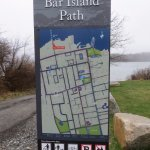 Gravel path from West Street to Bar Island which has 1.5 miles of old roads & hiking trails.