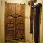 Hand-carved cedar wood doors.