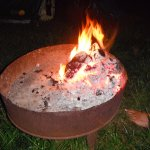 Plenty of braziers on hand to light a campfire, wood on sale from the site