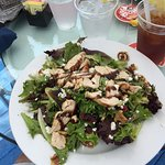Sweet & Nutty Mixed Greens, goat cheese, walnuts, cranberries, croutons, balsamic dressing.