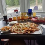 Santa Fe nachos, soft pretzels, and a beer sampler