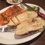 Salmon dinner and chicken sandwich