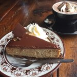 Absolutely delicious peanut butter cake and hot chocolate. So good I came back twice more to sam