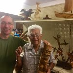 Me with Ika Vea holding the beautiful necklace and tiki statue he made