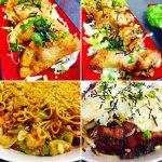 Fried Mundoo, Smoked Spicy Chicken Wings, Hawaiian Chicken with Cake Noodle, Smoked Meat Loco