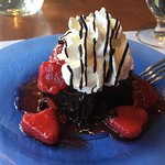 The chocolate brownie with strawberries, blueberry pie, seared Atlantic scallops with sautéed ve