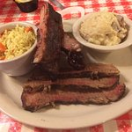 Brisket, mashed potatoes, rice, and ribs at Mesquire Pit