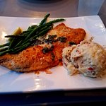 Parmesan Encrusted Lake Superior Perch with garlic mash potatoes & asparagus