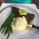 New York Strip steak with mashed potatoes and asparagus