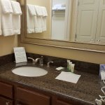 Nice marble countertops and good quality towels