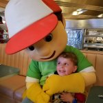My son with Handy Manny.