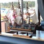 Tall ship model on display, Dinghy Dock Pub & Floating Restaurant 8 Pirates Lane, Nanaimo, Briti