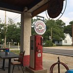 An old pump and their cool sign! Outdoor seating.
