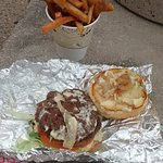 Outlaw burger with fries
