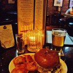 Brewhouse Cheese Burger with crisps and a pint of Ecliptic Starburst IPA