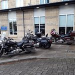 Harley Davidsons galore on the hotel grounds
