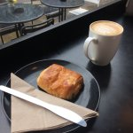 Cute cafe in the centre with mocha and salted Carmel latte... and the two pain au chocolate! :)