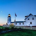 The lighthouse form the land side before dawn.