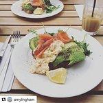 salmon, avocado, scrambled eggs - breakfast