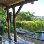 Vue depuis la terrasse et la piscine privée sur la nature environnante