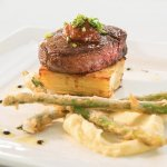 Wagyu Filet with potato dauphinoise, parsnip purée, and tempura asparagus