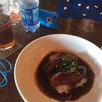 Bangers and Mash, paired with a Bass Ale