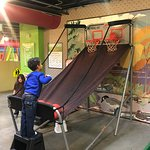 Shooting hoops in our Science of Sports exhibit!