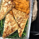 this is the coconut tofu with 2 sides (mashed sweet potato and sauteed spinach)
