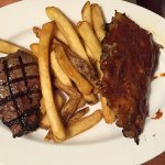 Steak and ribs... The ribs are the best ever, but no so much with the steak.