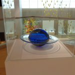 Blown Glass Blue Sphere with Flared Ring