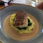 Catch of the day pan seared over risotto and greens