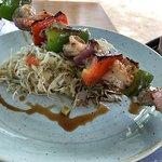 Shrimp & fish skewer over slaw